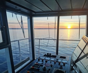 captain, sea, and sunset image
