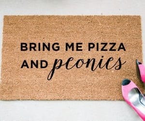 peonies, pizza, and floor mat image