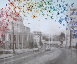 butterfly, art, and city image