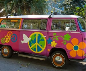 car, colorful, and hippie style image