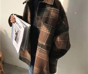 book, plaid, and brown image
