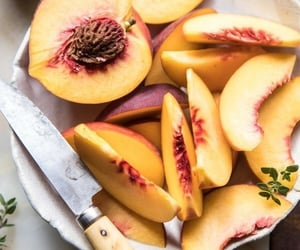 cut, fruit, and peaches image