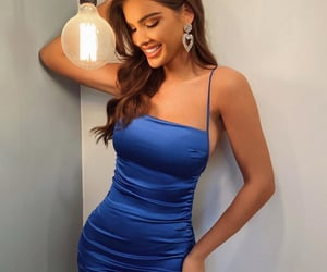 blue, brunette, and look style image