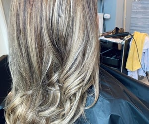 hair cut, highlights, and blonde image