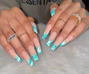 teal, waves, and french tip image