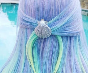 blue, hair, and shell image