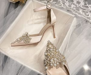 Chic / Beautiful Champagne Satin Pearl Rhinestone Wedding Shoes 2021 Ankle Strap 8 cm Stiletto Heels Pointed Toe Wedding Sandals High Heels