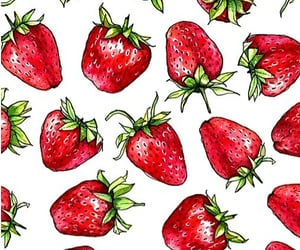 pattern, red, and strawberries image