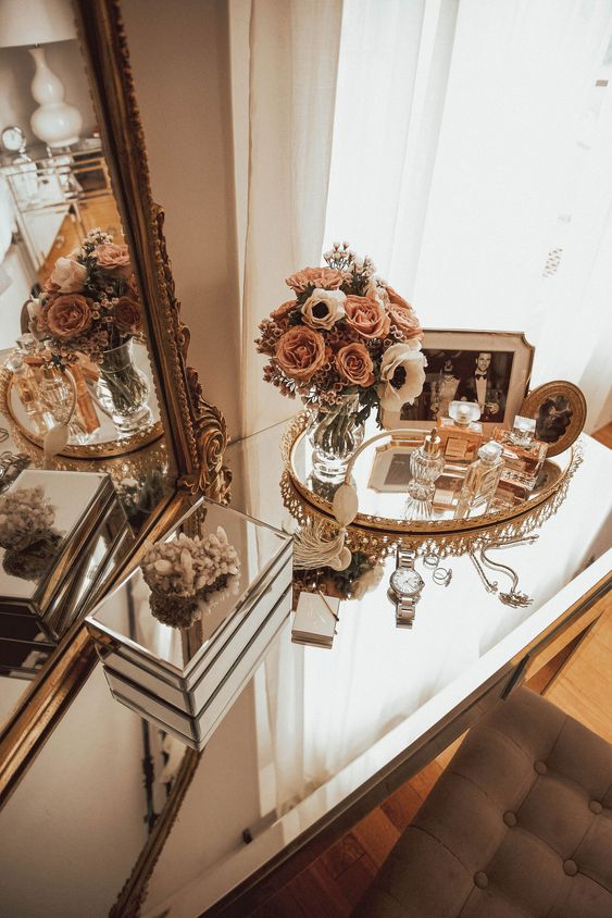 mirror, home, and flowers image