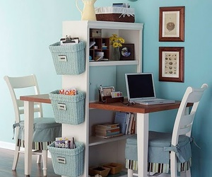 desk, home, and blue image