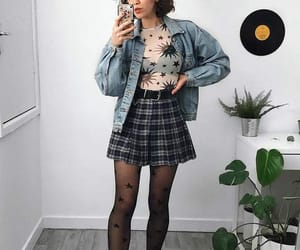 denim jacket, skirt, and grunge outfit image