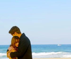 beach, hugging, and song ji eun image