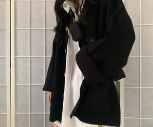 black, blouse, and casual fashion image