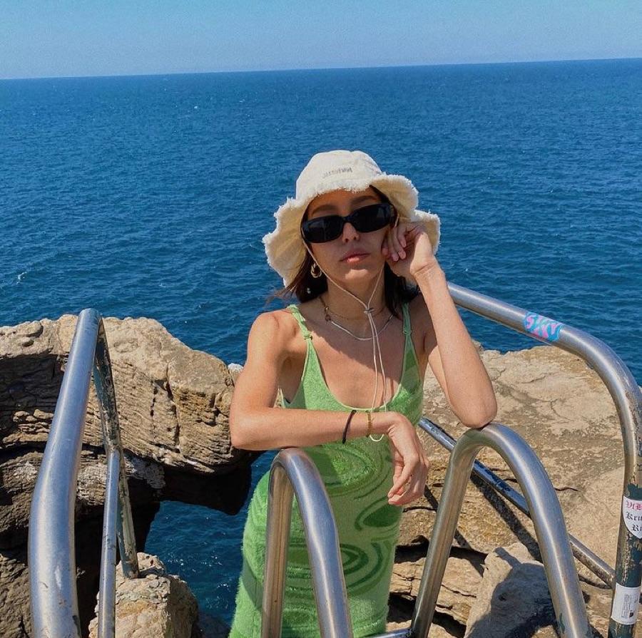 beach, green dress, and sea image