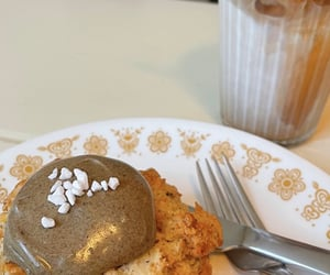 scone, south korea, and cafe latte image