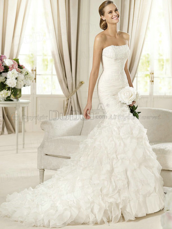 Mermaid/Trumpet Organza Tube Top Strapless Buttons Sweep Appliques ...