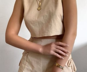 beige, outfit, and shorts image