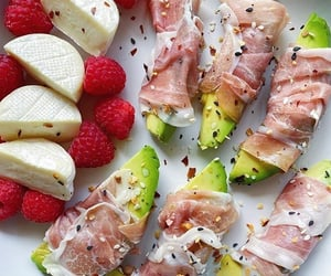 Prosciutto wrapped 🥑🥑, mini Brie cheese, and some local raspberries. click the link in my bio to get started 28 days keto diet challenge.