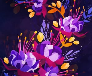 artsy, purple, and florals image