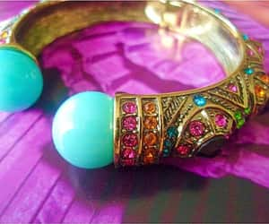 gift for her, turquoise cabochons, and hinged clamper image