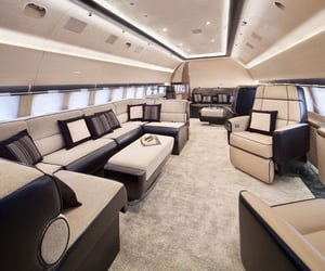 private jet, jet, and luxury image