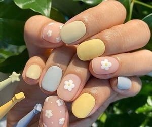 nails, flowers, and pastel image