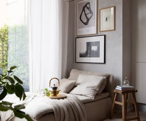 grey, cozy, and daybed image