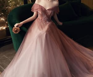 evening dress, prom dress, and pink prom dress image