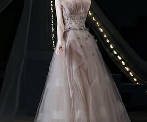 evening dress, prom dress, and strapless prom dress image