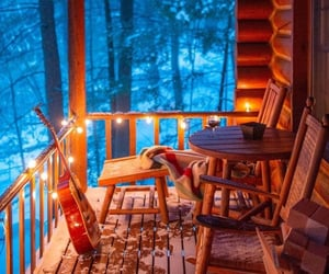 snow, beautiful, and cabin image
