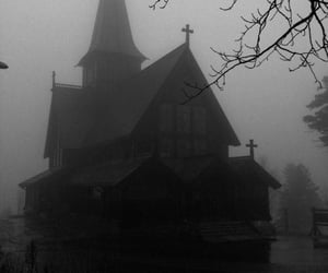church and black and white image