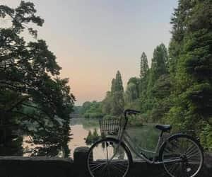 nature, bike, and lake image
