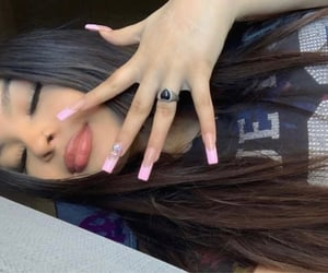 bella, cyber, and pink nails image