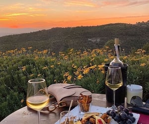 food, sunset, and drink image