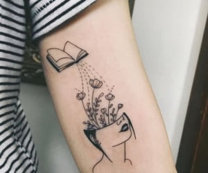 book, tattoo, and flowers image