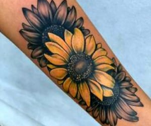daisies, Tattoos, and sunflower image
