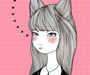 background, blush, and cat girl image
