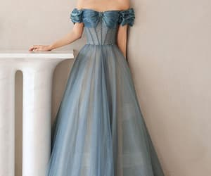evening dress, prom dress, and blue prom dress image