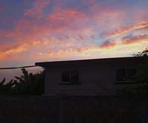 clouds, sunset, and pink sky image