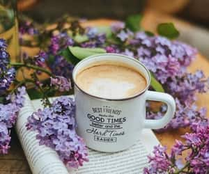 coffe break, coffee, and flowers image