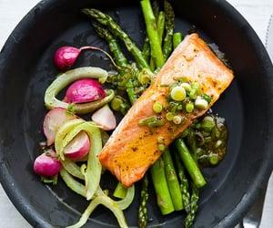 food, healthy, and salmon image