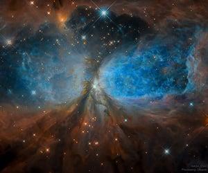 large disk of dust & gas, an emission nebula, and nasa image
