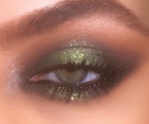 eye makeup, green eyes, and lashes image