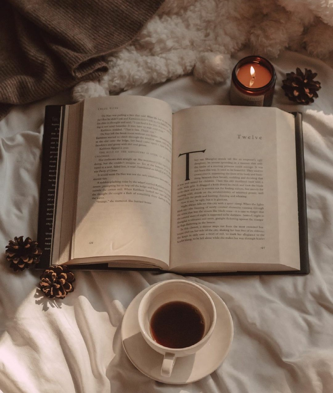 aesthetic, coffee, and reading image