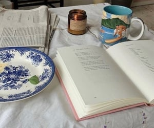 books, cup of coffee, and reading image