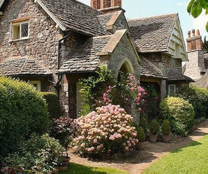 house, cottage, and flowers image