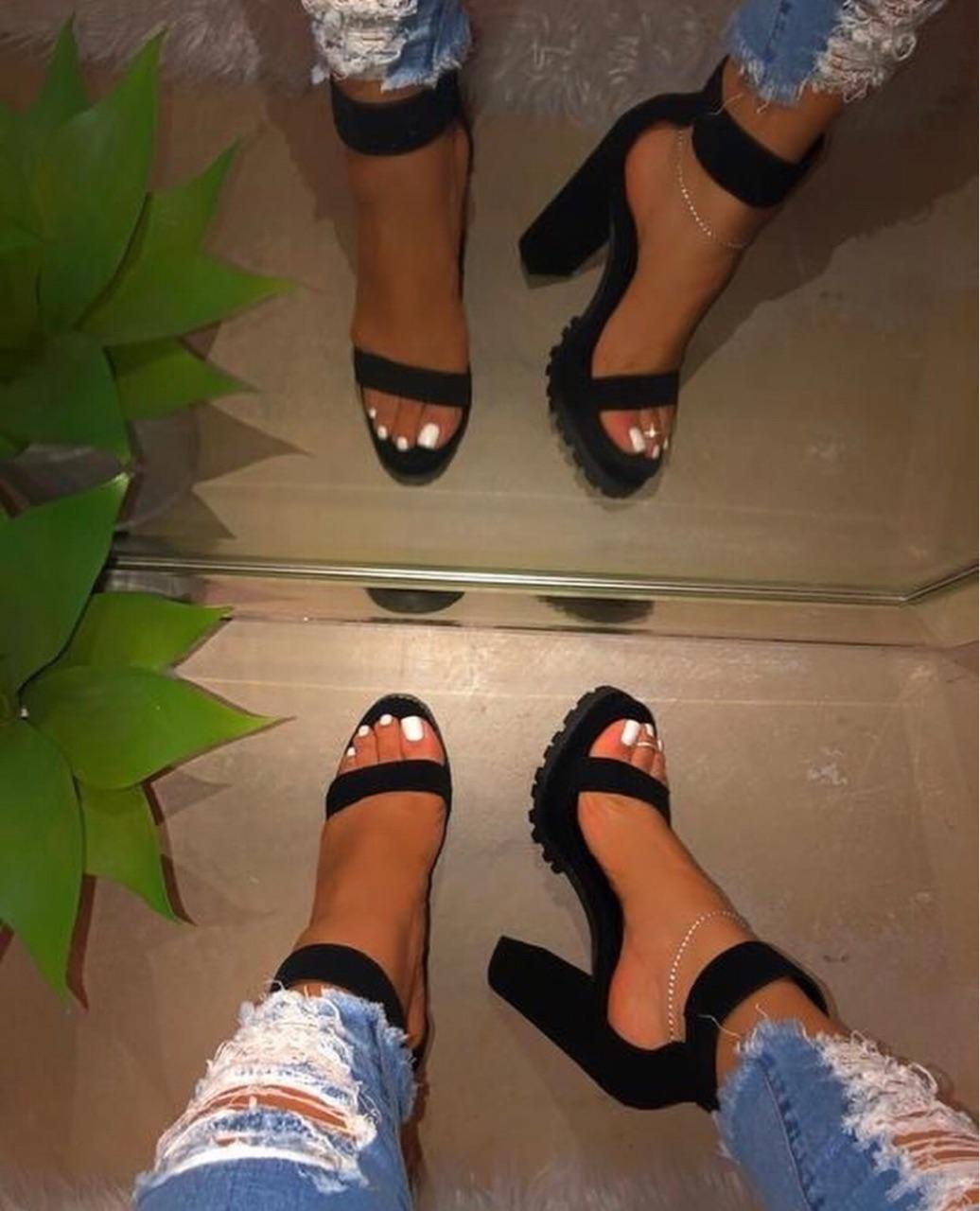 black, heels, and nails image