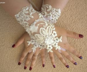 accessories, wedding glove, and ivory lace gloves image
