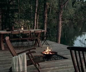 lake, fire, and home image