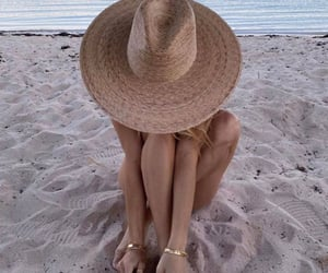beach, hat, and girl image